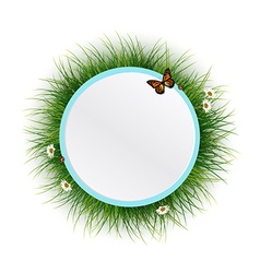 Floral frame grass background vector