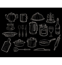 Kitchen utensils on a chalkboard background vector