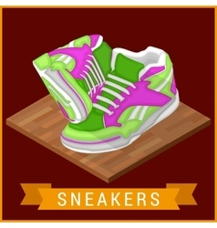 Pair sneakers flat isometric icon vector