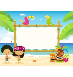 Hawaiian Billboard With Kids vector image