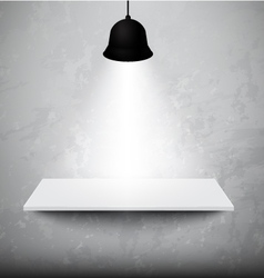 Empty white shelf hanging on the concrete wall vector