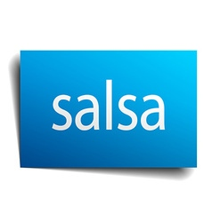 Salsa blue paper sign on white background vector