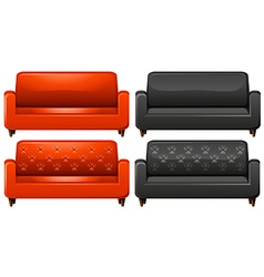 Red and black sofa vector