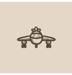 Airplane sketch icon vector