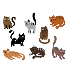 a set of cats a collection of cartoon kittens of vector image vector image