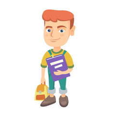 caucasian pupil with backpack and textbook vector image vector image