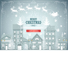 Christmas city landscape urban winter background vector