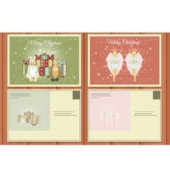 Christmas Set of a Postcards vector image vector image