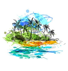 Colored hand sketch coast with palm trees vector