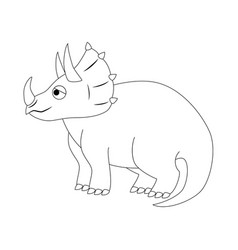 Colorless funny cartoon triceratops vector