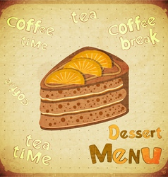 Dessert Menu on Retro background vector image vector image