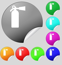 extinguisher icon sign Set of eight multi colored vector image