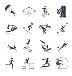Extreme sports icons black vector