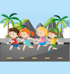four children running on the road vector image