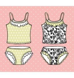 Hand drawn lingerie set vector