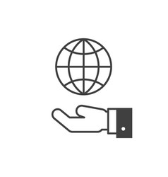 hand hold globe icon vector image vector image
