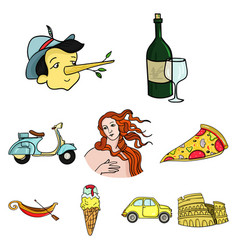 italy country set icons in cartoon style big vector image vector image