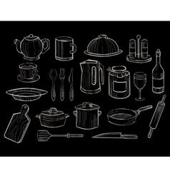 Kitchen Utensils on a Chalkboard Background vector image vector image