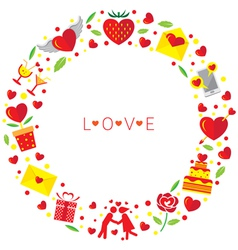 Love icons wreath vector