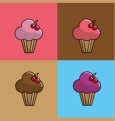 Pink muffin with cherry background icon vector
