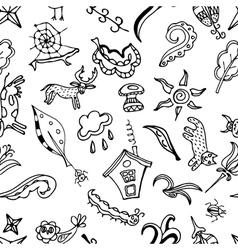 Seamless pattern doodling design kids doodle vector