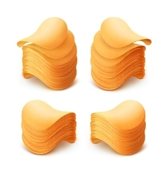 Set of potato crispy chips stacks on background vector