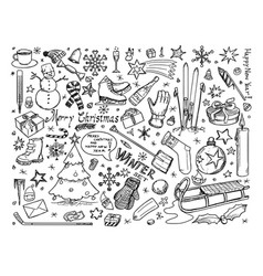 set of winter or christmas icons drawings doodles vector image