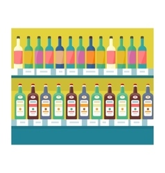 Shelves with drinks in grocery store vector