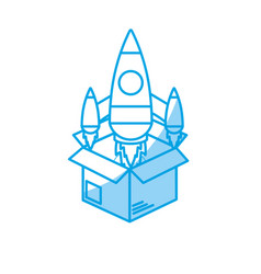 Silhouette box with technology rocket out side vector