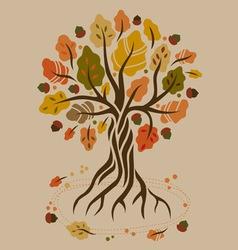 Stylized autumn oak vector