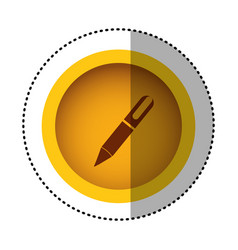 Yellow round symbol metal classic pen icon vector