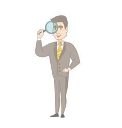 Young caucasian businessman with magnifying glass vector