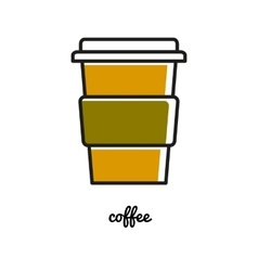 Disposable chot coffee cup line icon vector