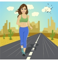 young sport woman running on road in desert vector image