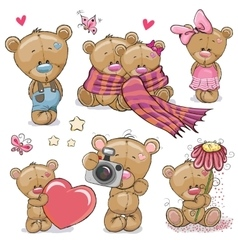 Set of cute cartoon teddy bear vector