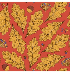 Seamless texture with leaves and flowers on red vector