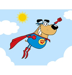 Brown Super Hero Dog Flying In Sky vector image