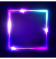 Neon sign square frame with glowing and light vector