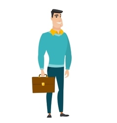 Caucasian business man holding briefcase vector