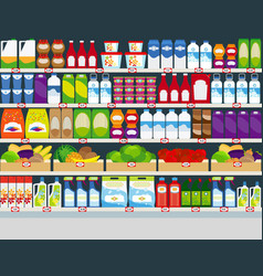 Store shelves with products background vector