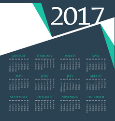 2017 calendar template design with abstract shape vector