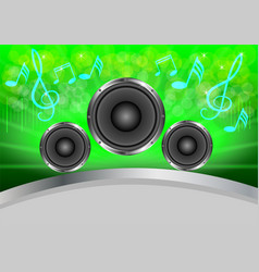 Abstract musical with speakers on green gray vector