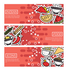 Set of horizontal banners about indian food vector