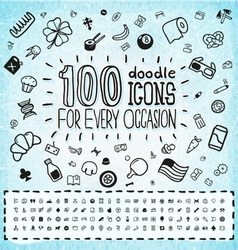 100 doodle icons universal set vector