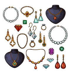 icons of jewelry bijou fashion accessories vector image