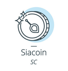 Siacoin cryptocurrency coin line icon of virtual vector