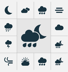 Air icons set collection of nightly weather vector