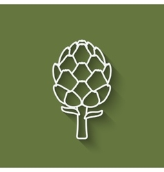Artichoke symbol on green background vector