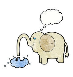 Cartoon elephant squirting water with thought vector