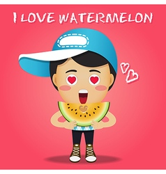 Happy man carrying big sliced yellow watermelon vector